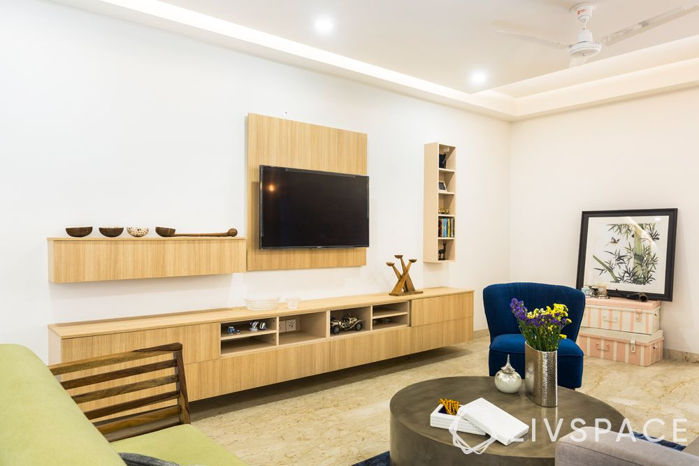 low cost simple TV unit designs-blue chair-wooden back panel