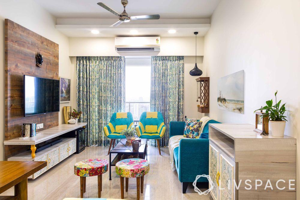 low cost simple TV unit designs-blue sofa-back panel