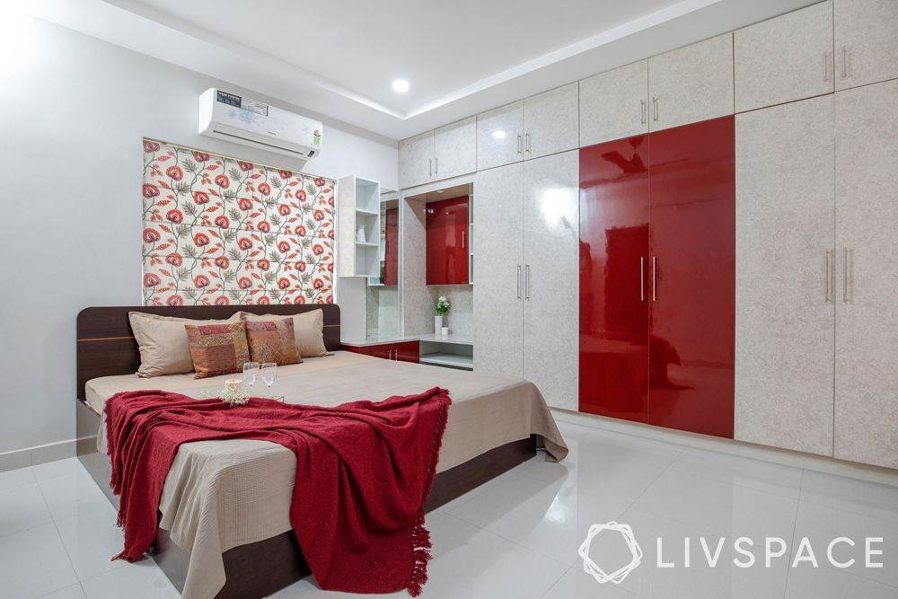 low cost small house design-bedroom-red and beige wardrobe-sliding wardrobe-glossy laminate-wardrobe with dresser