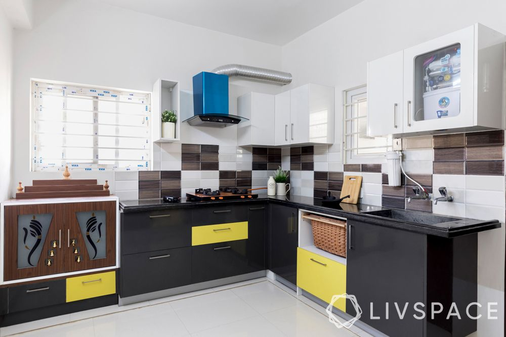 low budget low cost small house design-kitchen-modular and custom units-mandir
