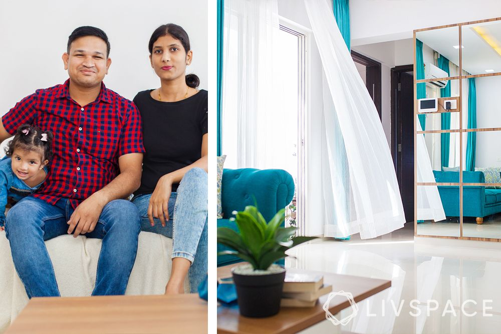 low cost small house design-clients-living room-mirror wall-blue sofa-curtains