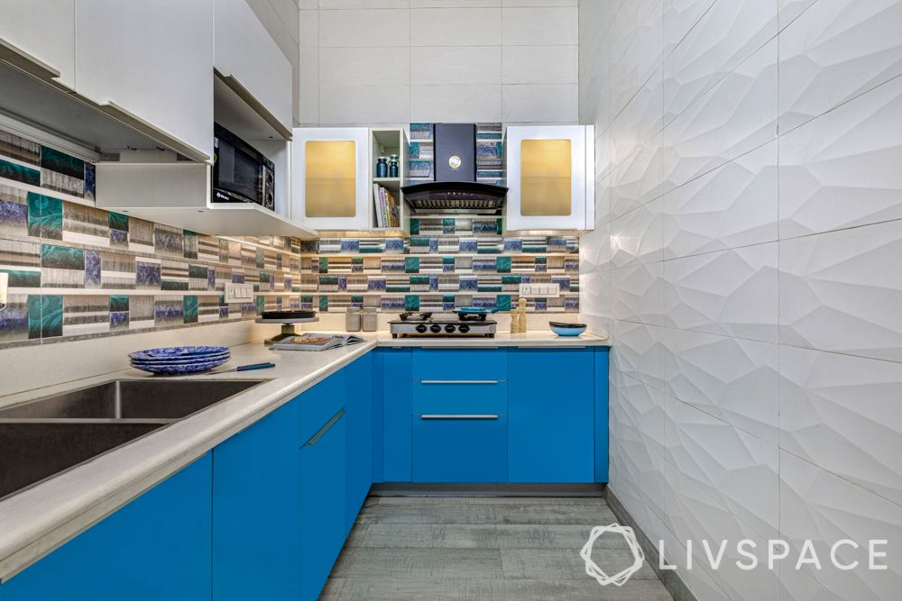 small kitchen designs-L shaped kitchen-blue counters