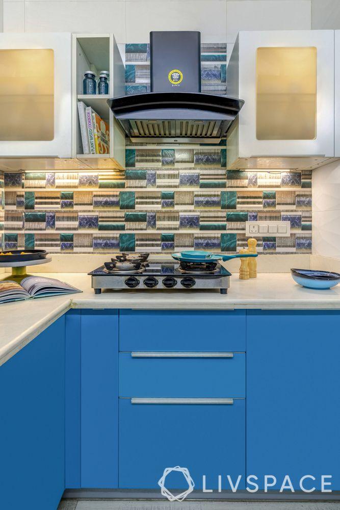 small kitchen design tips-blue cabinet-lighting