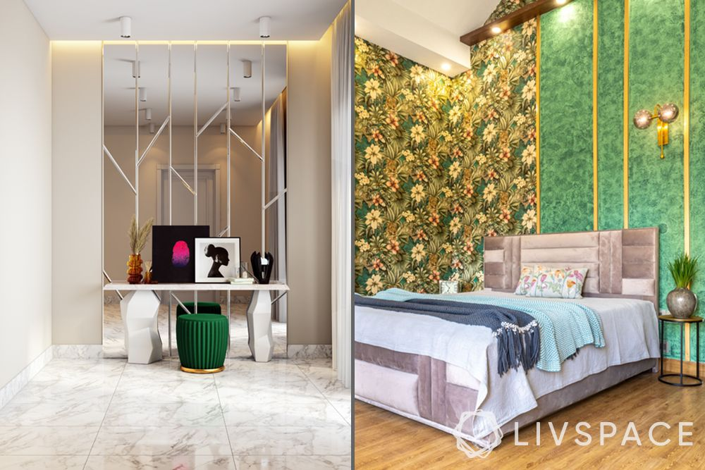 low budget simple house design-accent walls-mirrored accent wall-wallpaper