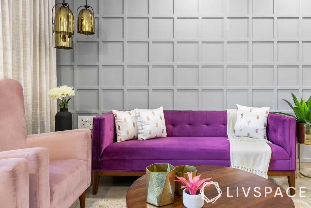 low budget simple house design-wall panelling-board and batten-purple sofa-pendant light