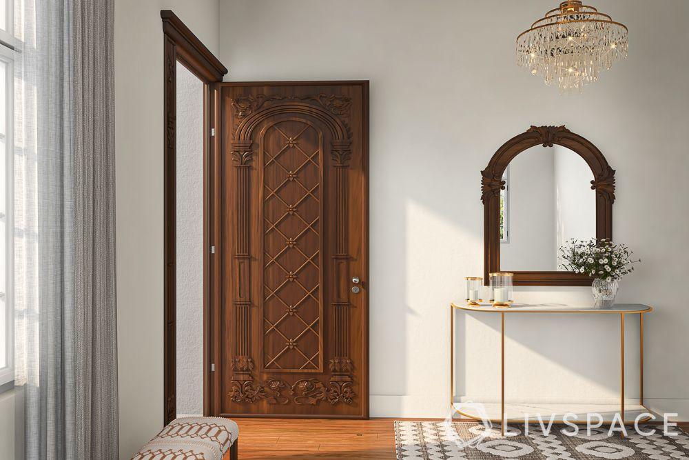 east-facing-house-vastu-plan-wooden-front-door