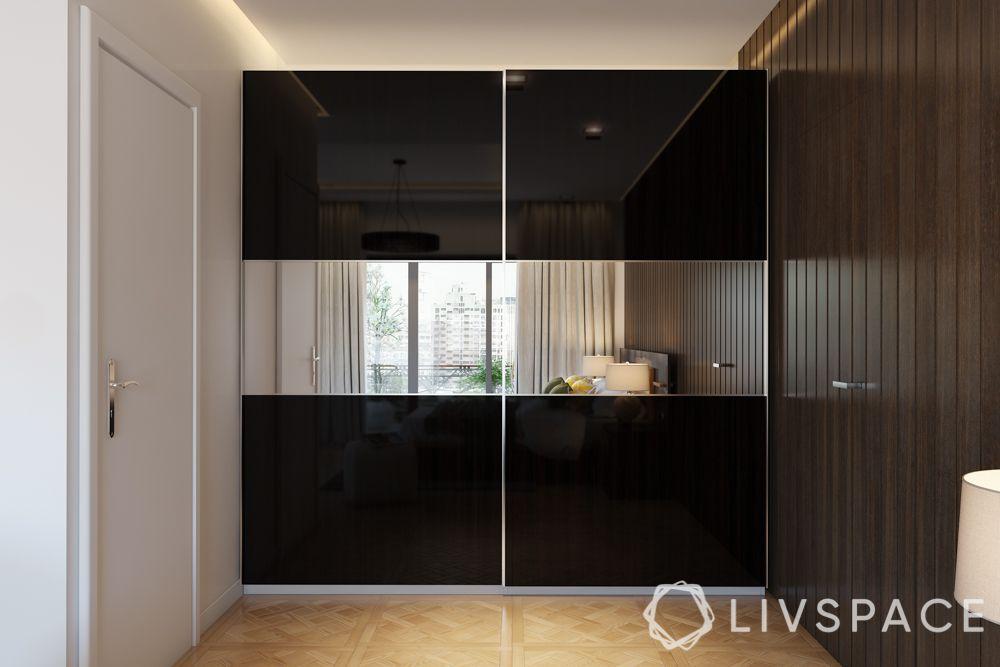 small bedroom cupboard designs-black-sliding door