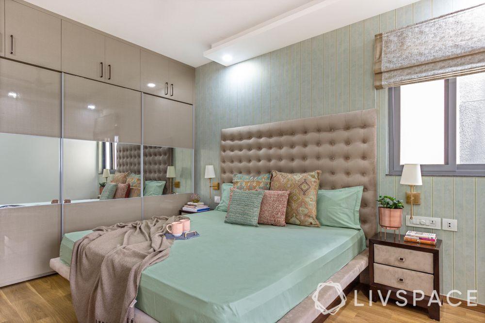 small bedroom cupboard designs-beige-mirrored door
