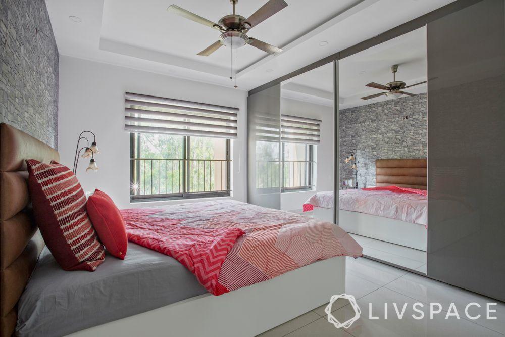 small bedroom cupboard designs-mirrored door-grey wardrobe