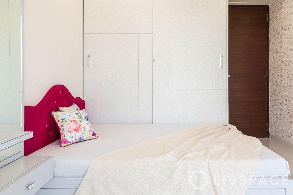 small bedroom cupboard designs-white cupboard-sliding door