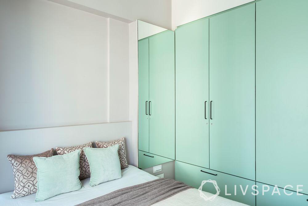 small bedroom cupboard designs-mint colour-swing door