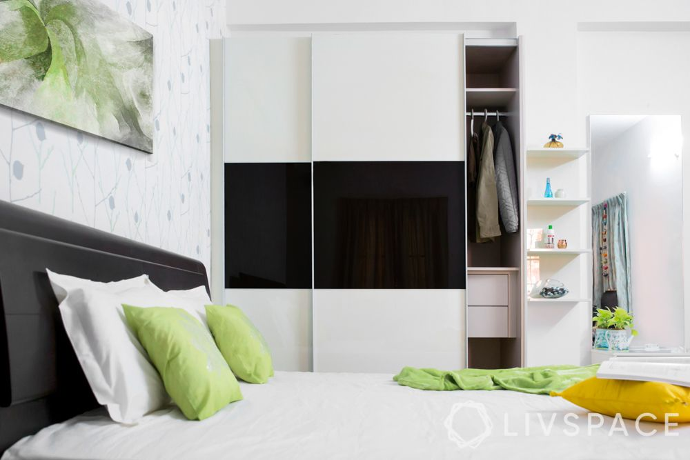 small bedroom cupboard designs-glossy finish-black and white