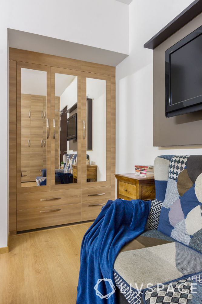 small bedroom cupboard designs-light-colored wood-mirrors