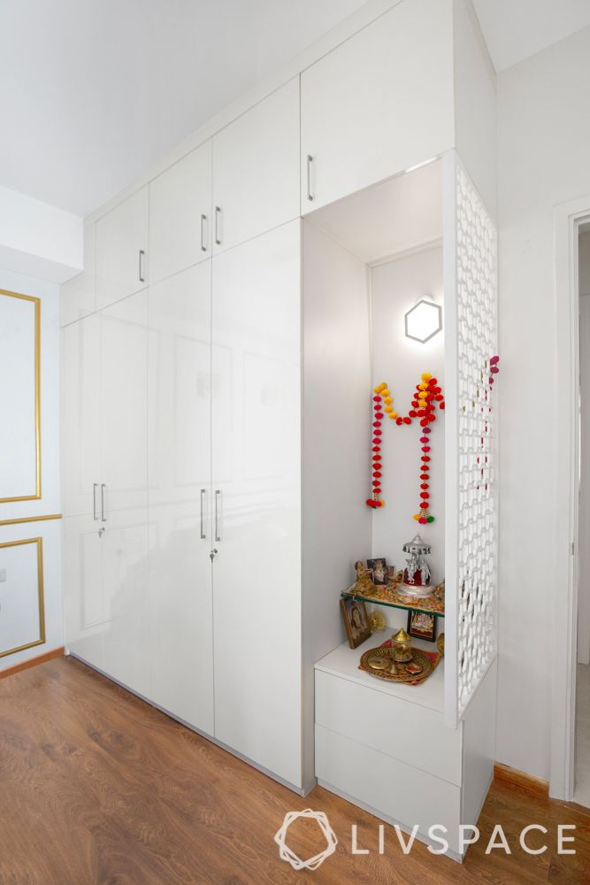 small bedroom cupboard designs-white wardrobe-pooja room