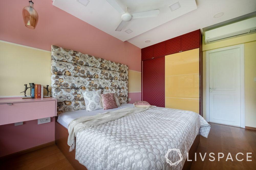 small bedroom cupboard designs-red-yellow colour-sliding door