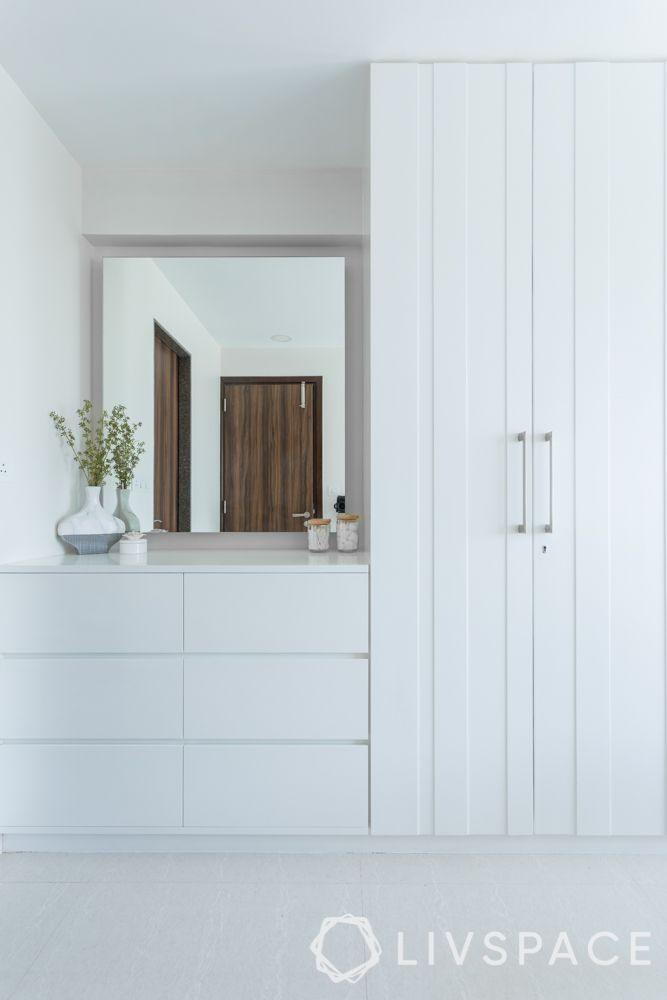 small bedroom cupboard designs-chic dressing corner-white swing door