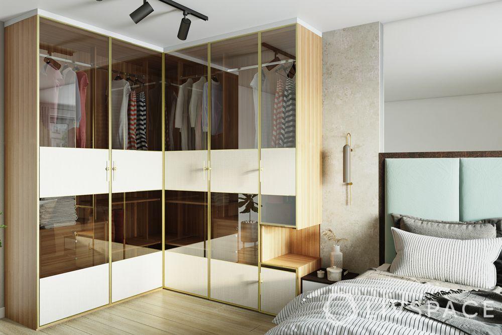 small bedroom cupboard designs-see-through glass door-wood wardrobe