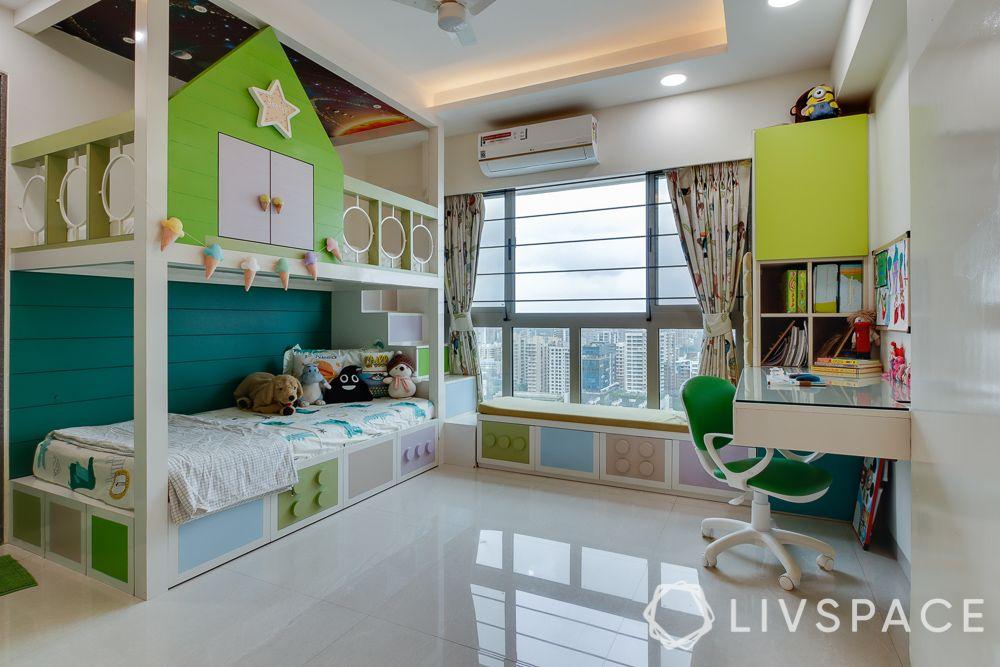 hometour-apartment-in-mumbai-kids-bedroom-bunk-bed-green-white-lego-theme-study-table