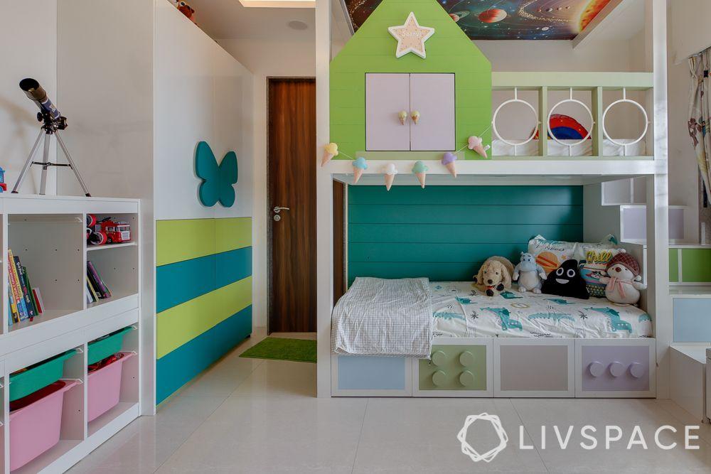hometour-apartment-in-mumbai-kids-bedroom-green-bunk-bed-modular-wardrobe