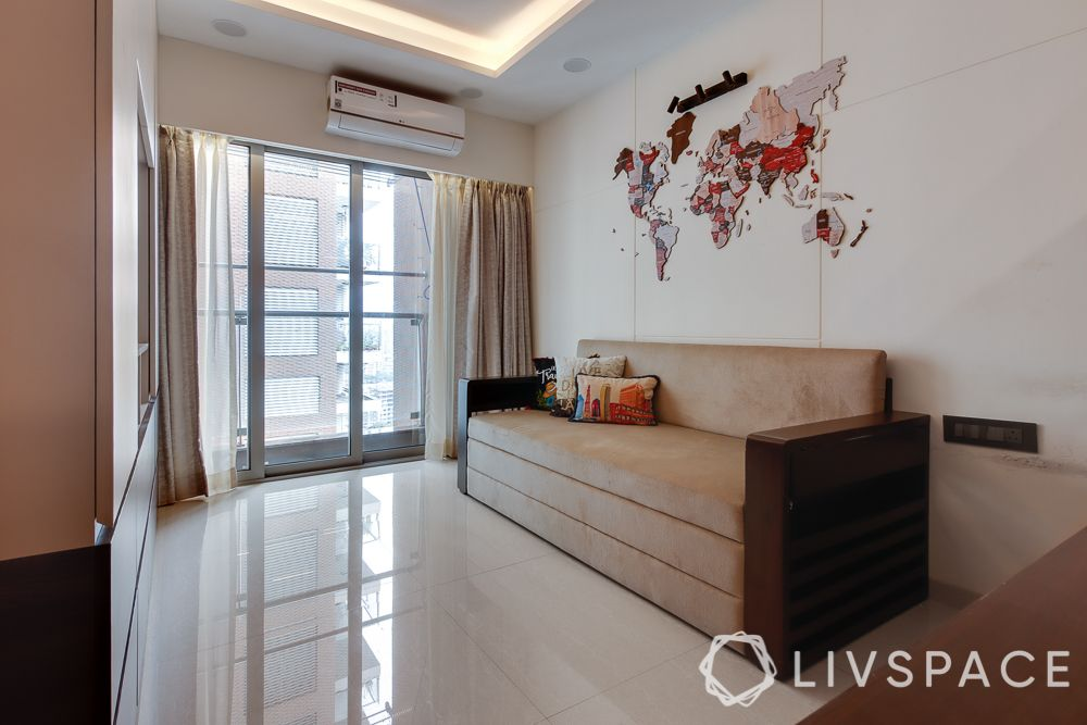 hometour-apartment-in-mumbai-study-guest-bedroom-sofa-cum-bed-world-map
