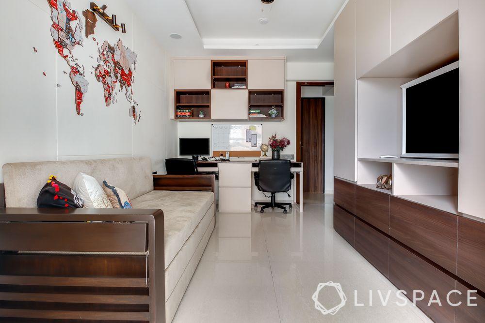 hometour-apartment-in-mumbai-study-guest-bedroom-wooden-sofa-cum-bed-desk-TV-unit
