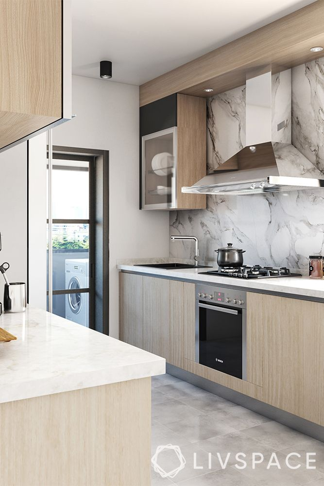 kitchen-ideas-singapore-bright kitchen-wood finish cabinets-steel chimney
