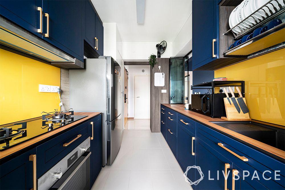 kitchen-ideas-singapore-eclectic-navy blue-yellow-spacious