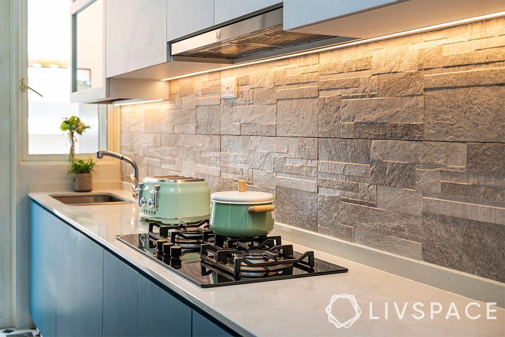 kitchen-ideas-singapore-blue cabinets-grey-backsplash-tiles