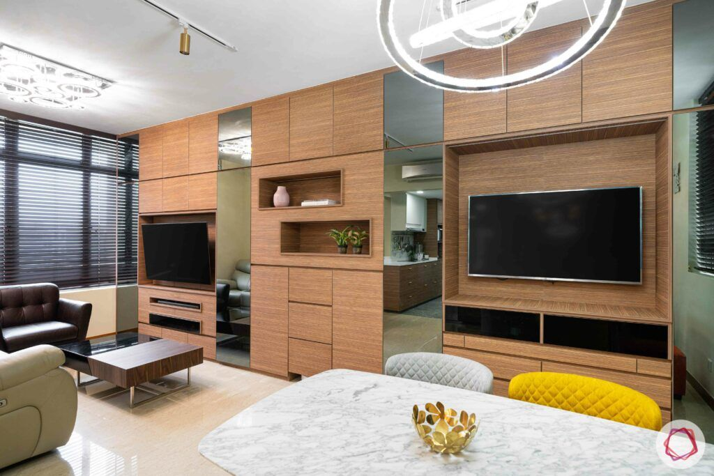 condo-interior-design-singapore-dining-accent-light-TV-unit-living-yellow-chair
