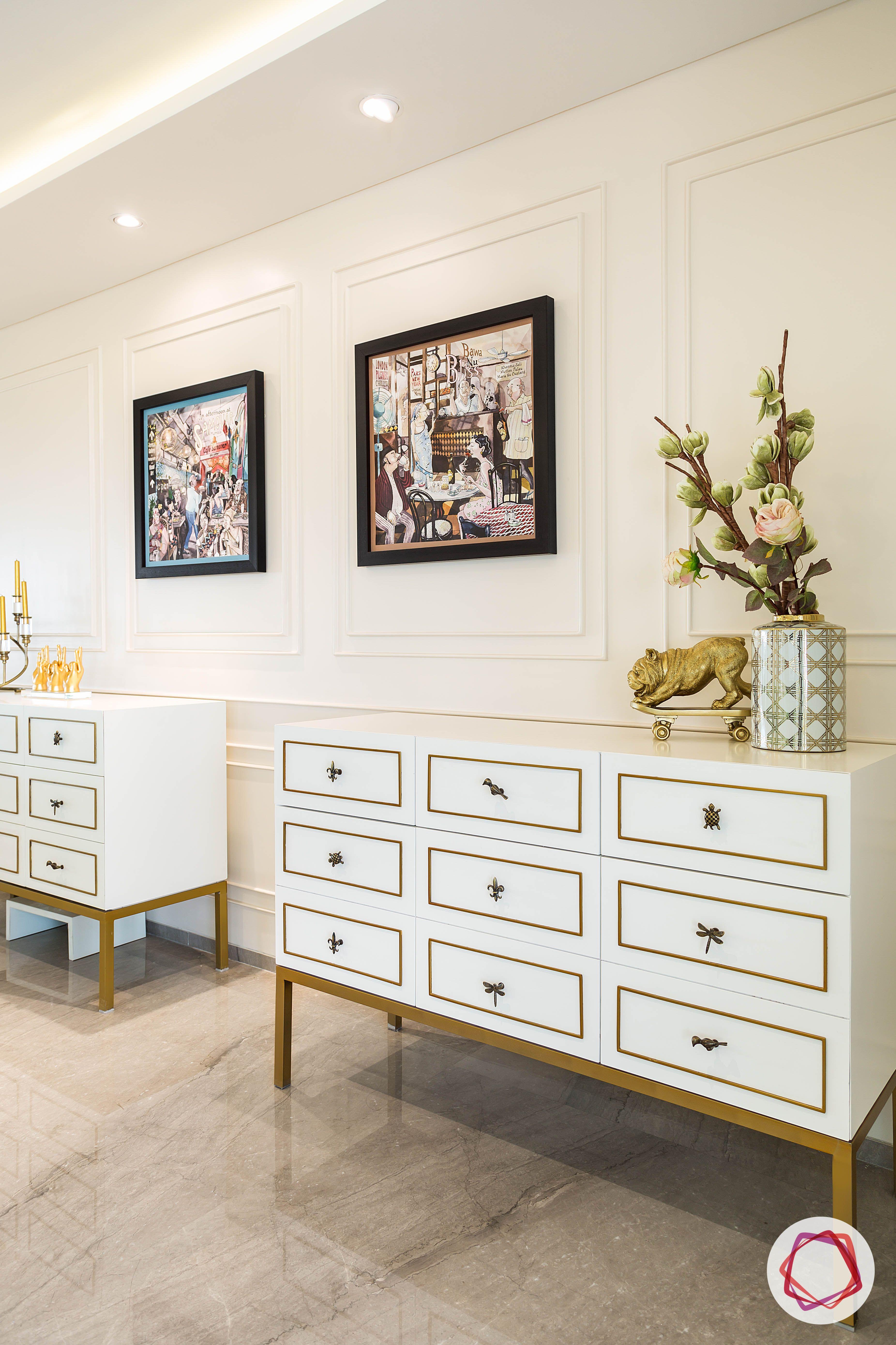 condo-interior-design-white-crockery-unit-designs-brass-trim designs