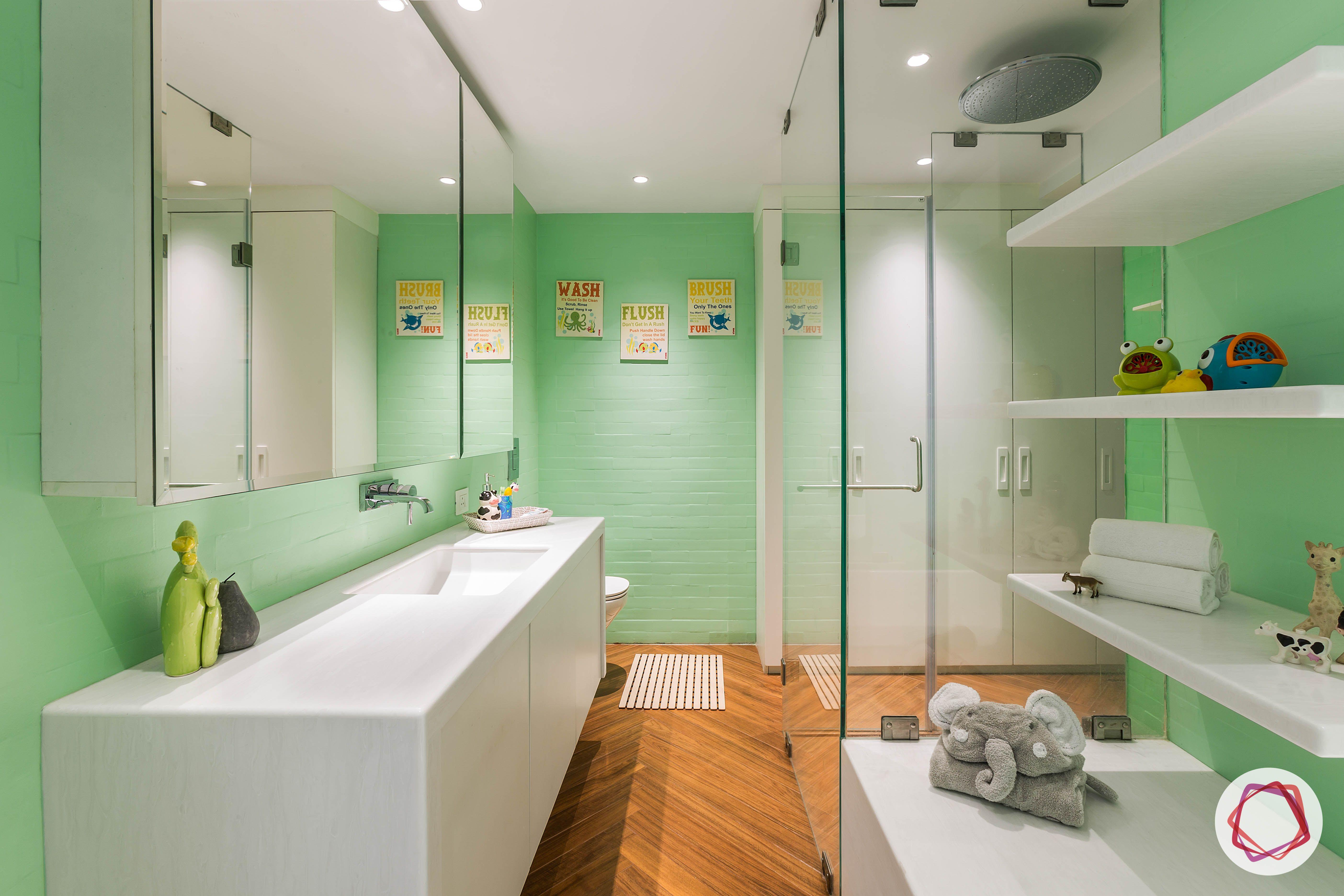 condo-interior-design-green bathroom-walls-kids