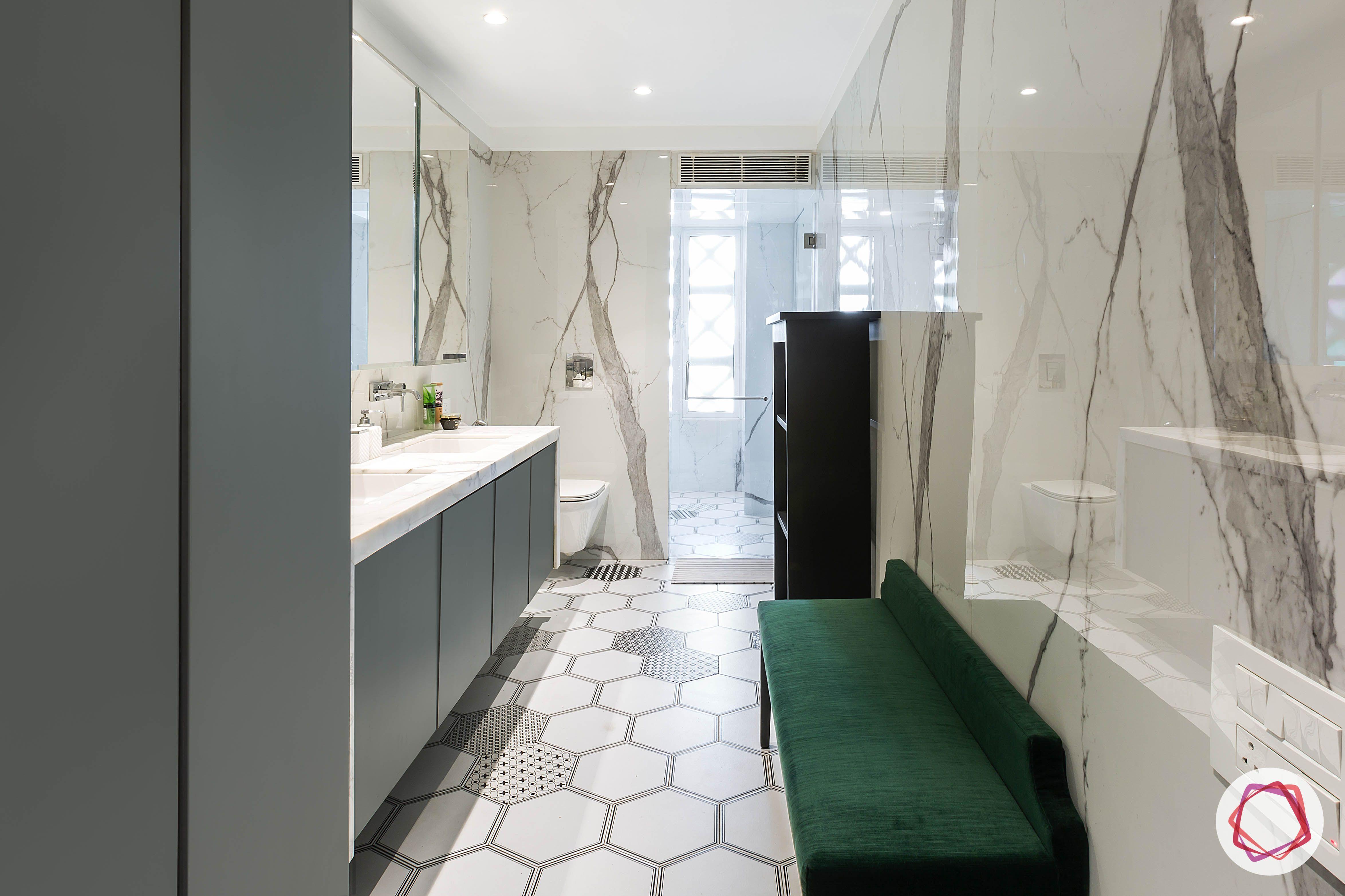 condo-interior design-bathroom-grey-green-bench-designs