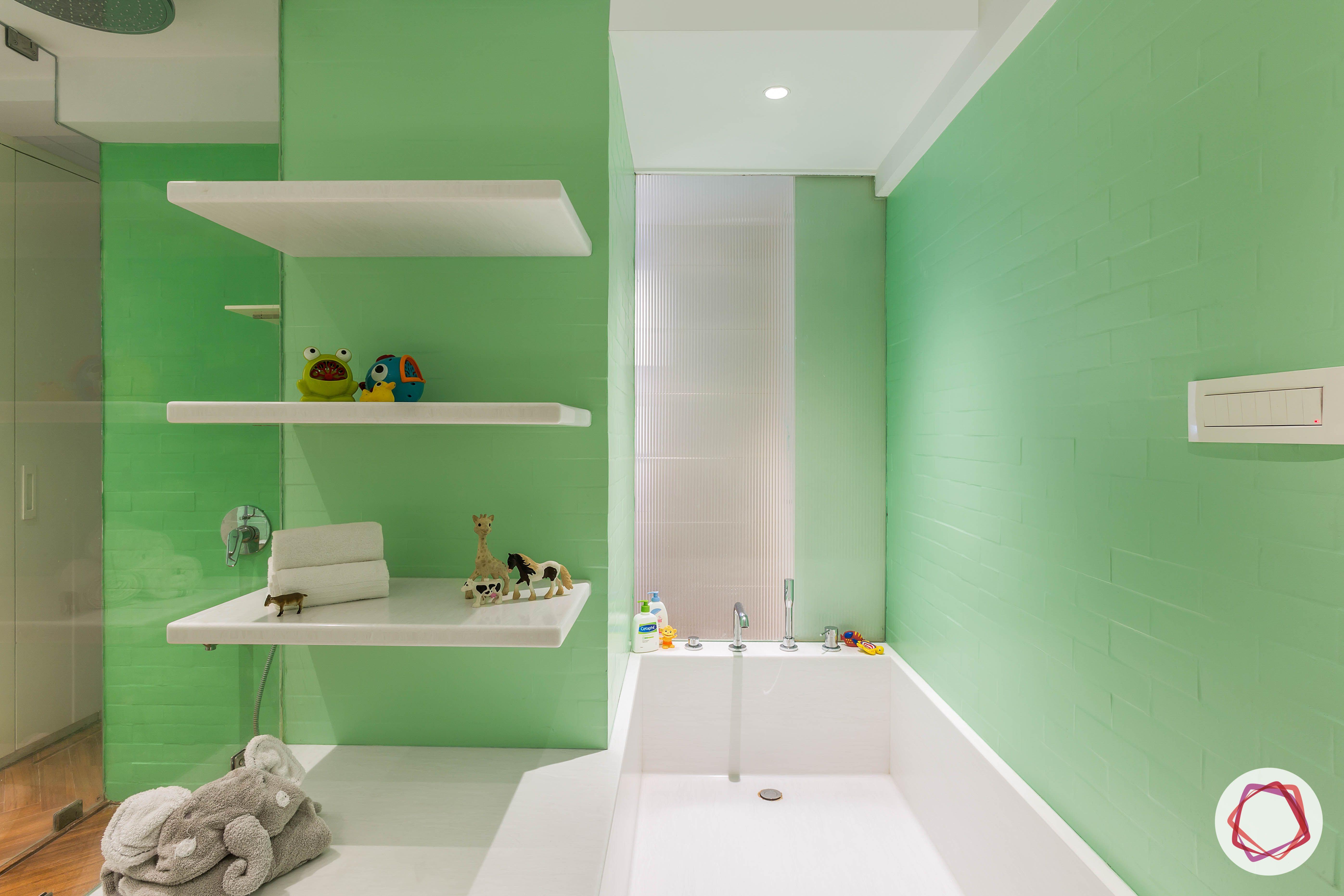 condo-interior-design-green-wall-ideas-white-shelf-designs