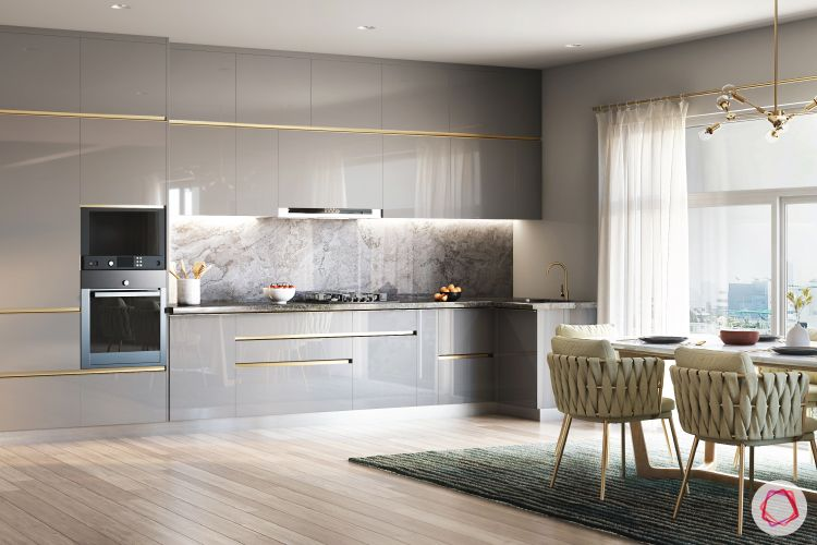open concept kitchen-grey acrylic finish-built-in oven
