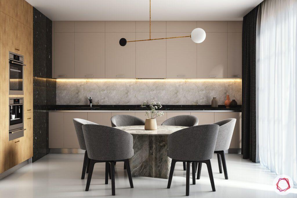 open-concept kitchen-dining room-niche storage