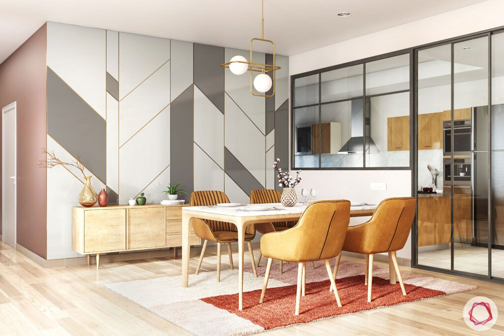 open-concept-kitchen-glass partition-dining room-semi open kitchens