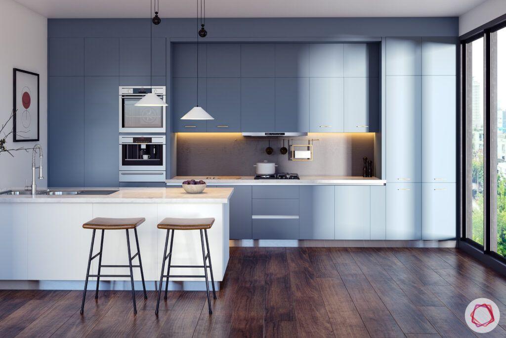 kitchen with breakfast bar-slate grey finish