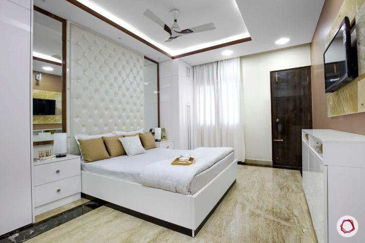 cove lights-white headboard-vanity unit designs