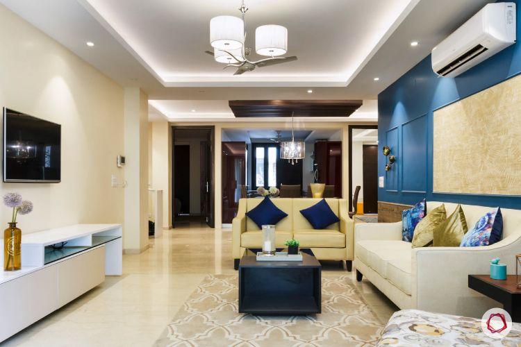 false ceiling lights-neutral sofa designs-blue pillow designs-pendant lights