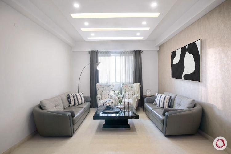 false ceiling lights-grey sofa-wall art-false ceiling designs