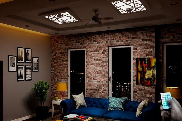 living room-blue sofa-wall art-brickwall