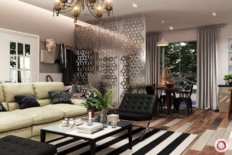 black chair-chandeleir-black and white carpet designs-coat rack