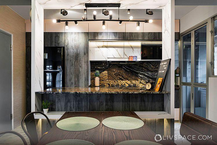 new kitchen on a budget-dark earth tone granite countertop