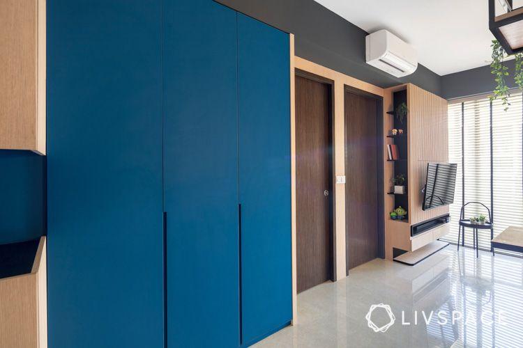 Living room_large-storage-cabinet-blue-matt-laminates-wooden-TV-console-bookshelves