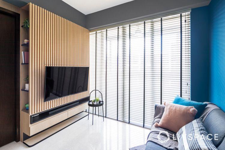 Living-room-TV console-for-studio-condo-design-wooden-slats-battens-for-Scandi-look-cushions-sofa-set