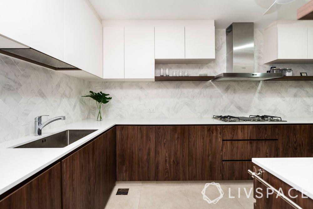 HDB-kitchen-design-brown-laminates-white-matt-cabinets-open-shelves-cooker-hob-wall mounted-hood