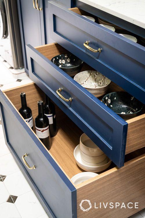 Kitchen-deep-drawers-blue-laminates-dinnerware-crockery