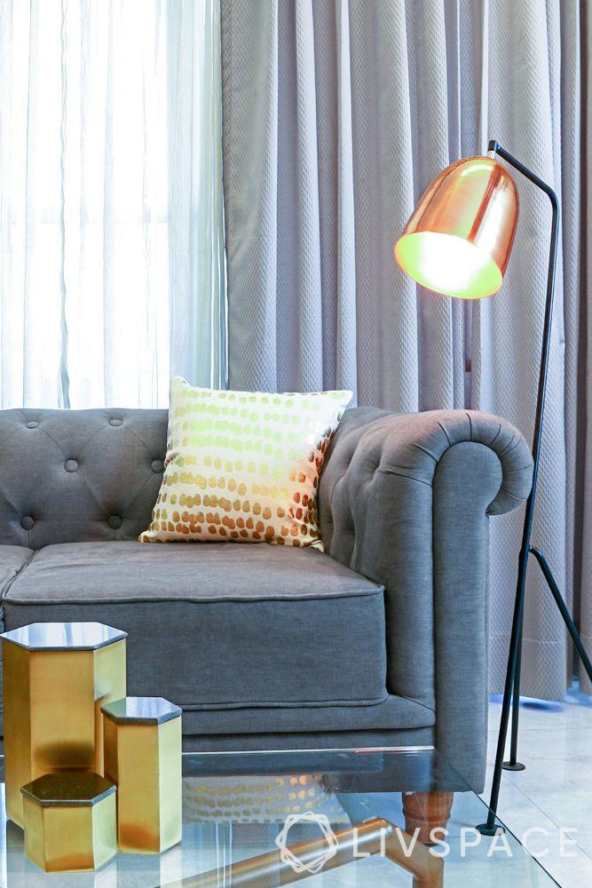 living room lighting ideas-floor lamp-tufted sofa