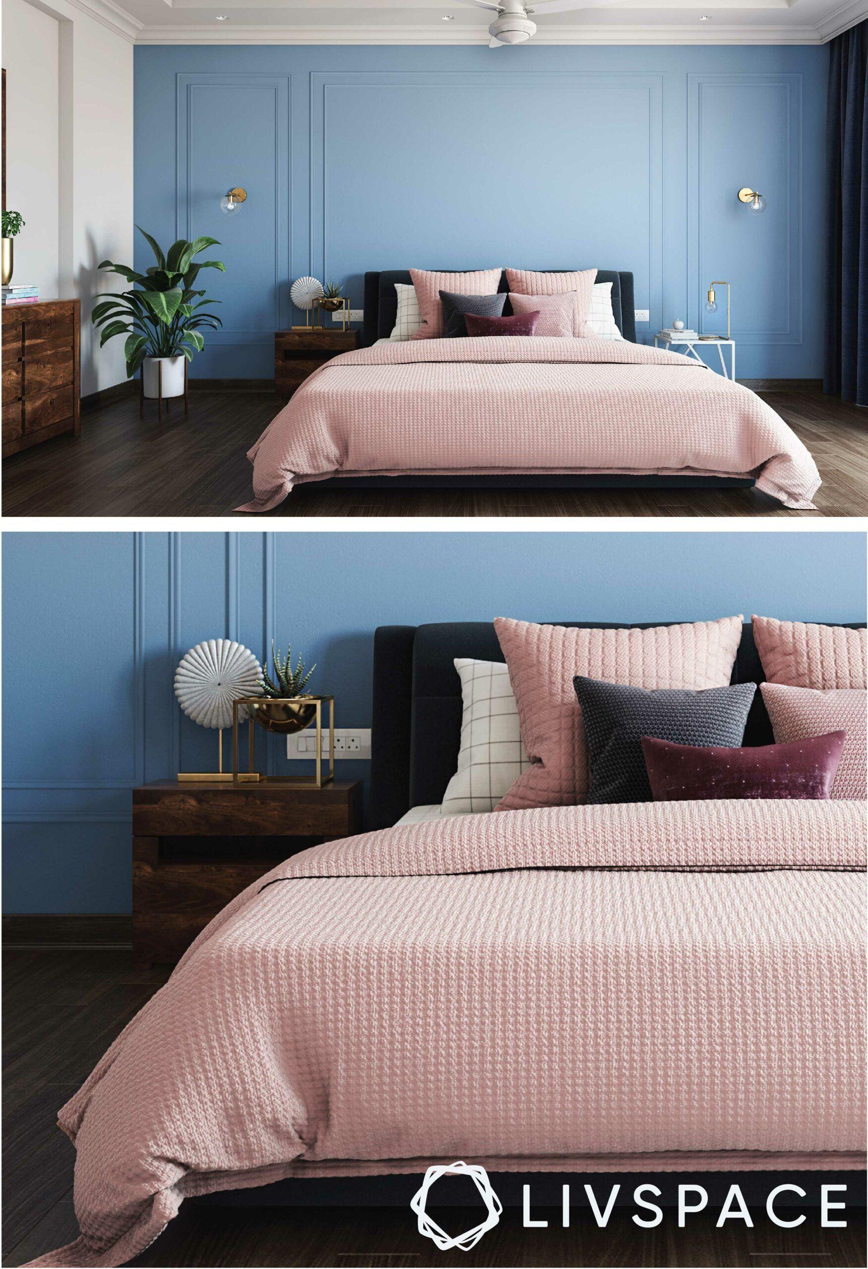 bedroom-design-blue-wall-pink-blanket