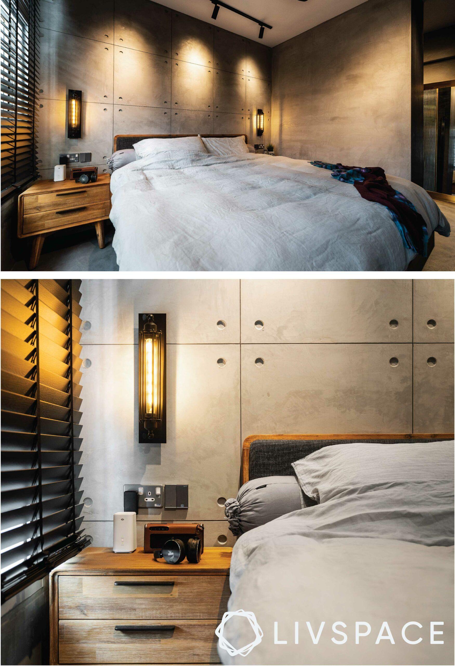 bedroom-design-industrial-profile-light-track-blinds